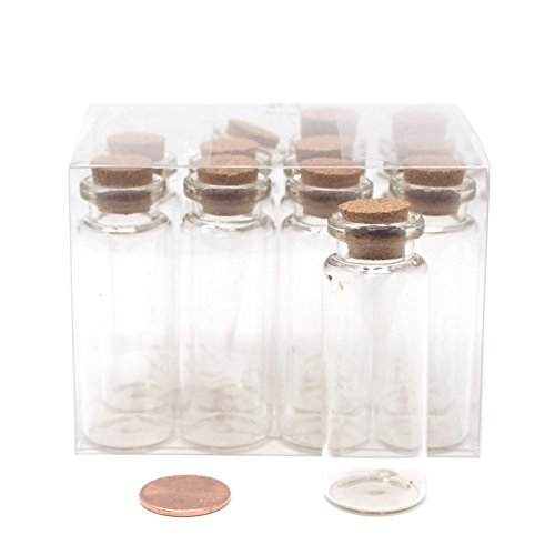 (Homeford Mini Glass Tube Corked Jars Candy Bottle, 2-1/2-Inch, Clear, 12-Pack)