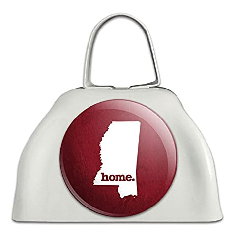 Mississippi MS Home State White Cowbell Cow Bell - Textured Maroon (3 Inch Cowbell)