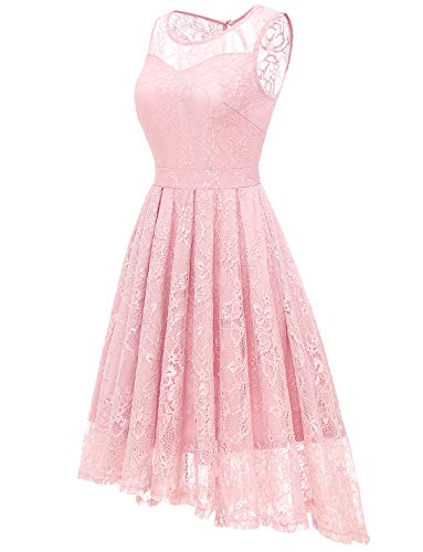 1d9742960f ... Dresses Gardenwed Women s Retro Lace High-Low Homecoming Dress Cocktail  Party Gown Bridesmaid Dress Pink XL.   