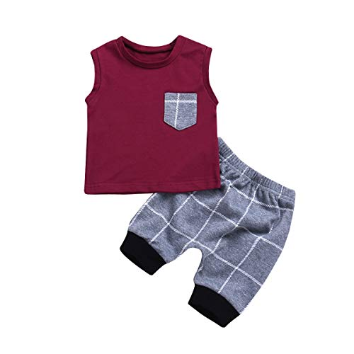 (Infant Baby Boys Summer Casual Clothes Set Plaid Pocket Vest Tops +Shorts ... (0-6 months, Wine Red) )
