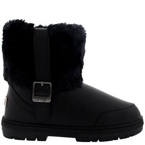 Womens Side Buckle Knöchel Pull auf flachen Winter Schuh Stiefel Schwarzes Leder