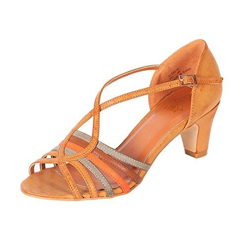 Alexis Leroy Women's Cross-straps Buckle Style Middle Heeled Sandals (39 M EU / 8-8.5 B(M) US, Tan)