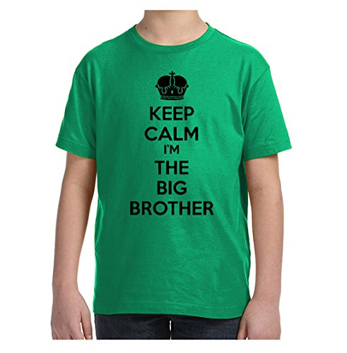 Price comparison product image So Relative! Keep Calm I'm The Big Brother (Black Print) Boys & Kids T-Shirt (Kelly, Youth Small (6-8)