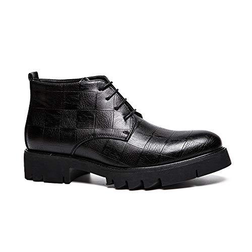 Cuadros Hombre Zapatos Textura Estilo Moda A Alta Botines Personalidad De Chenjuan Negro Bota Informal Para Británico Superior nvwXPd8