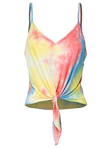PERSUN Women Summer Spaghetti Strap Tie Dye Tank Tops Cotton V Neck Sleeveless Rainbow Crop Tops (Tie Dye Camisole Dress)