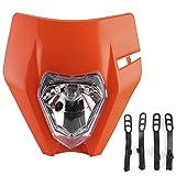 Headlamp Lampshade,Motorcycle Grimace Headlamp Lens ABS Front Light Housing Large Headlight Lampshade(orange)