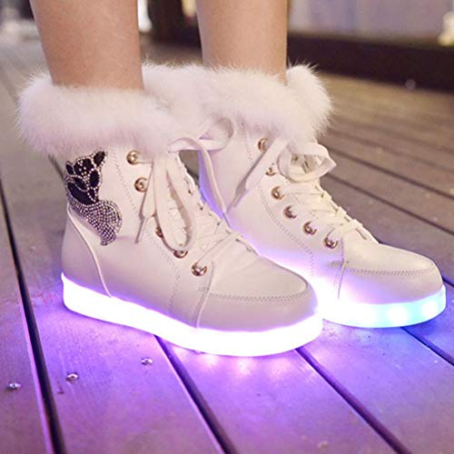 Colores Carga De Conejo tamaño Cálidas Para Terciopelo Invierno Bestoyard 40 Blanco Radiantes Usb Por Botas Piel Nieve Más Zapatos Mujer Xz51xq6w