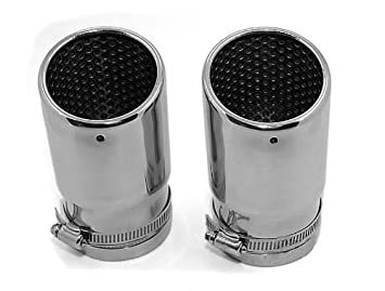 2Pcs Stainless Steel New Chrome Exhaust Muffler Tip Pipe For VW Beetle 2012 2013
