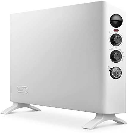 De'Longhi Convector Panel Heater, Full Room Quiet 1500W, Freestanding/Easy Install Wall Mount Adjustable Thermostat, Programmable Timer, White - Slim Style