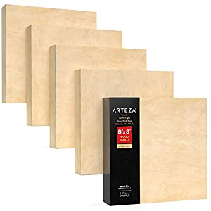 Arteza Wooden Canvas Board, 8×8 Inch, Pack of 5, Birch Wood, Cradled Artist Wood Panels for Painting, Encaustic Art, Wood Burning, Pouring, Use with Oils, Acrylics