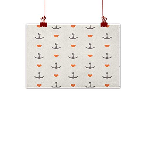 Outdoor Nature Inspiration Poster Wilderness Anchor,Anchors and Hearts Sweet Romantic Beach Holiday Party Gathering Leisure Tour, Vermilion Grey 24