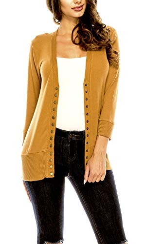 (Women's V Neck Cardigan Snap Button 3/4 Sleeve Sweater with Ribbed Detail Collection Plus Size [S-3X] Coffee X Large)