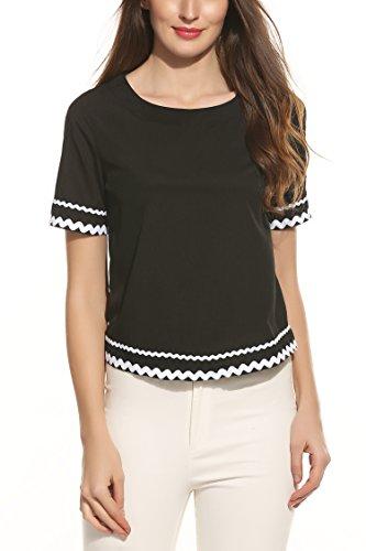 Zeagoo Women Navy Waved Print Trim Short Sleeve T-shirt Blouse Tops 41O3IQi26sL