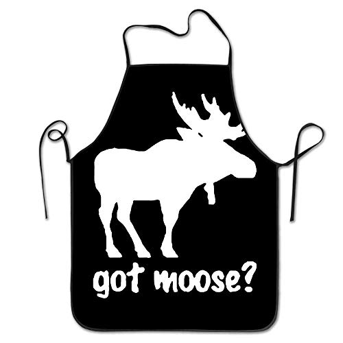 Female Moose - amiuhoun Got Moose Women Men Kitchen Bib Apron Barbecue Manicure Store with Adjustable Neck Chef's Apron