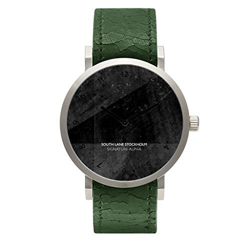 South Lane 'SIGNATURE ALPHA' Quartz Stainless Steel and Leather Casual Watch, Color:Green (Model: 659436314627) by South Lane