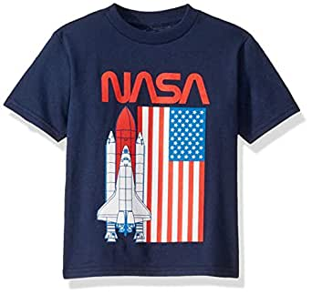 Freeze Unisex-Child N3SD132-02T NASA Space Shuttle USA Flag Short Sleeve Tshirt - Toddlers Short Sleeve T-Shirt - Blue - 2T
