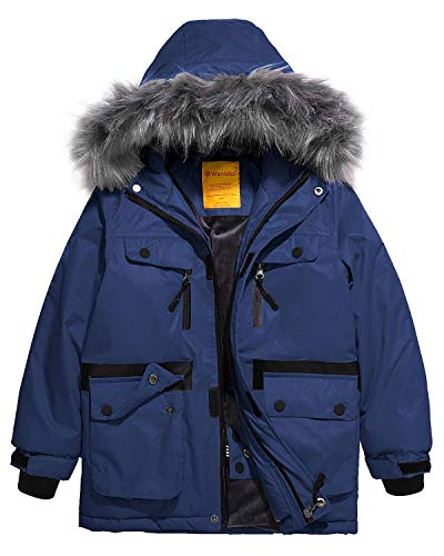 Wantdo Boy Waterproof Ski Jacket Outdoor Jacket Windproof Winter Coat Blue 10/12