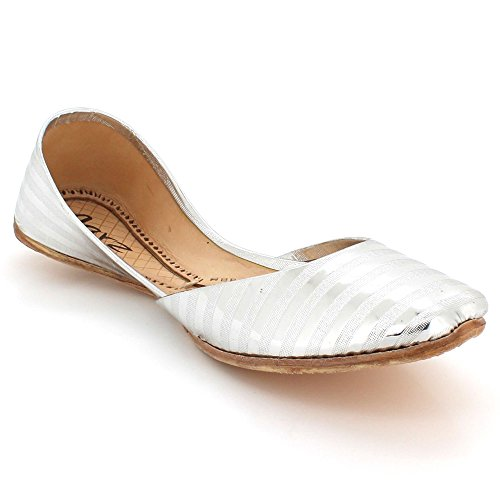 AARZ LONDON Women Ladies Shiny Traditional Ethnic Bridal Handmade Leather Flat Khussa Indian Pumps Slip On Shoes Size Silver nHYws