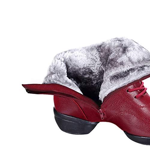 Doublées Chaude L'usure Jazz D'hiver De Antidérapantes Caoutchouc À Bottes Rouge Doublure Femmes Neige Fourrure Chaussures Pour Semelle Yudesun Velet Lacets Résistant Danse Plus PwUXxPT