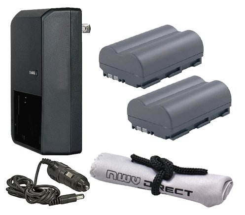 Canon EOS 40D High Capacity 'Intelligent' Batteries (2 Units) + AC/DC Travel Charger + Nwv Direct Microfiber Cleaning Cloth.