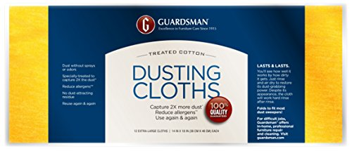 (Guardsman Wood Furniture Dusting Cloths - 12 Pre-Treated Cloths - Captures 2x The Dust of a Regular Cloth, Specially Treated, No Sprays or Odors - 462500)