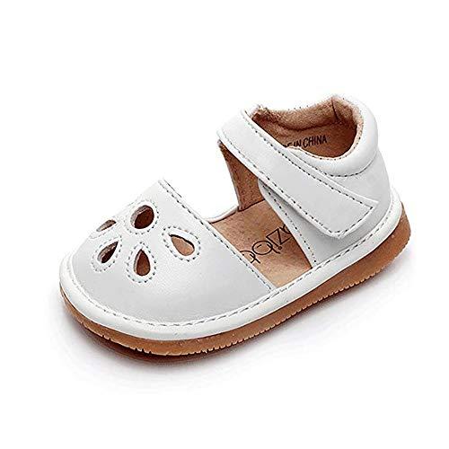 Flower Punch Medium (HONGTEYA Squeaky Shoes for Toddler Girls Flower Punch Mary Jane Baby Sandals (6 M US Toddler, White))