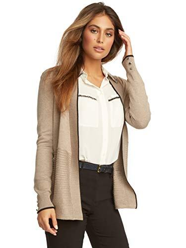 89th + Madison Women's Contrast Rib Open Front Cardigan with Tipping