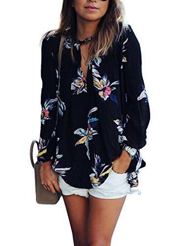 Phoenix Women Casual Floral Print Long Sleeve Chiffon Shirt Blouse Tops, Black, X-Large