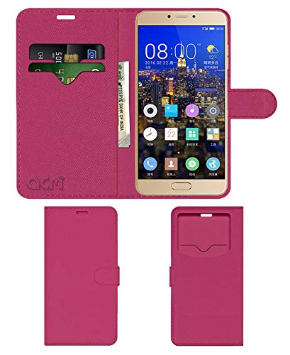 Acm Leather Window Flip Wallet Front   Back Case Compatible with Gionee S6 Pro Mobile Cover Pink