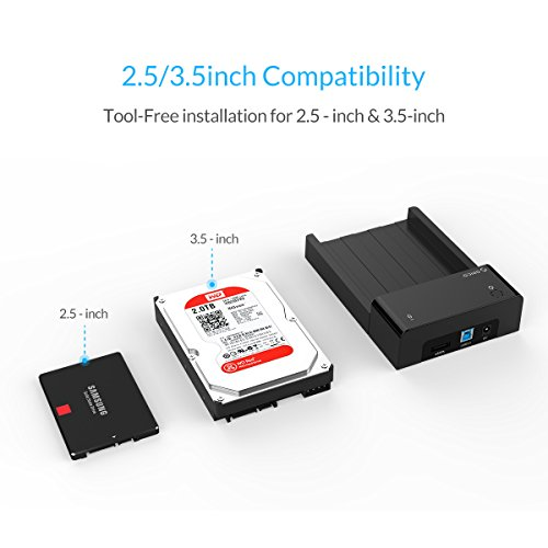 ORICO Tool-Free USB 3.0 & eSATA to 2.5'' & 3.5'' SATA External Hard Disk Drive Lay-Flat Docking Station HDD SSD Enclosure [Support 8TB]- Black by ORICO (Image #1)