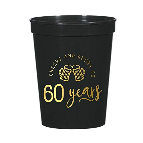 Cheers and Beers to 60 Years with Beer Mugs, Set of 10 Plastic Stadium Cups for a 60th Birthday Party