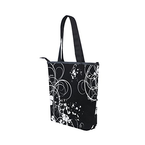 Womens Canvas Bag White Tote Swirls Black MyDaily Handbag Flower Shoulder 6q8vfw