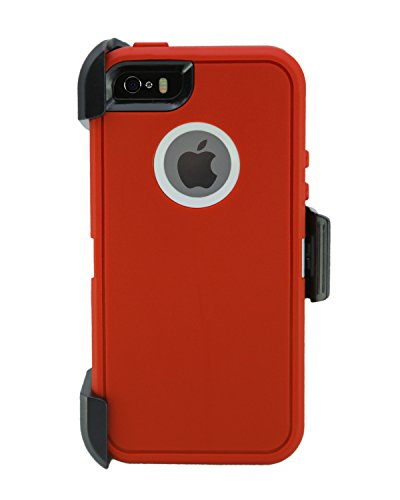Garnet Red Case - WallSkiN Turtle Series Cases for iPhone 5/5S/5SE (Only) Full Body Protection with Screen Protector & Kickstand & Holster - Garnet (Red/White)