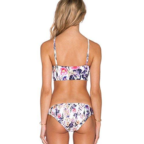 TAOZHN Trajes De Baño Bikini Femenino S M L XL Deportes Acuáticos Clásico Sin Mangas Temperamento Bikini De Alta Calidad Calle Disparar El Apoyo En El Pecho Traje De Baño Floral