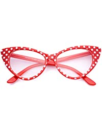 Cat Eye Glasses Vintage Inspired Mod Fashion Clear Lens...