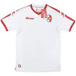 Zeus Maillot de Football Bari Gara Home Blanc Rouge Original Neutre sans Sponsor 2017-18