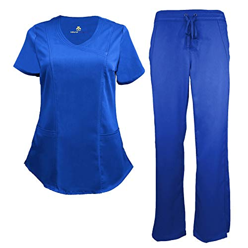 Drop Mock - Natural Uniforms Women's Ultra Soft Modern Fit Mock Wrap Scrub Set (True Royal Blue, Medium)
