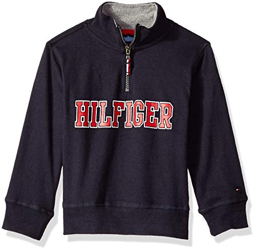 Tommy Hilfiger Toddler Boys' Long Sleeve Half Zip Pullover Sweater, Chest Swim Navy, 4T