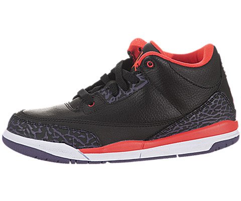 Jordan III (3) Retro (Preschool) - Black / Bright Crimson-Canyon Purple, 12.5 M US by Jordan