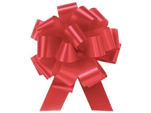 Imperial Red Pull String Bows - 5.5 Inch Wide 20 Loops (1 and 7/8 Inch Ribbon) Set of 10