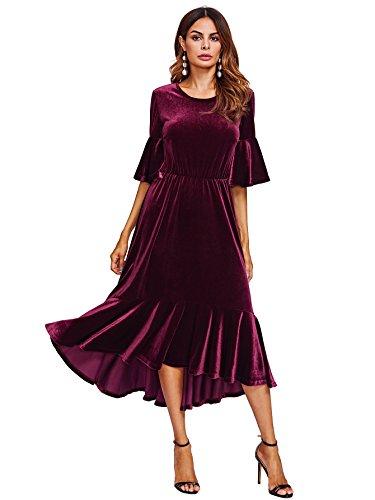Floerns Women's Trumpet Sleeve Flounce Ruffle Hem Velvet Midi Dress Red S ()