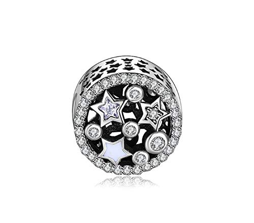 EVESCITY Many Styles Silver Pendents 925 Sterling Beads Fits Pandora, Similar Charm Bracelets & Necklaces (Twinkle Star Cubic ()