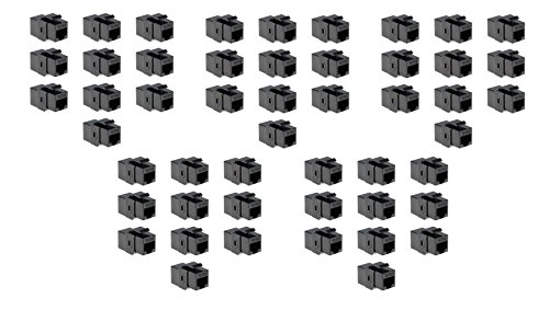 Cat5e Female to Cat5e Female Keystone Coupler - Black - 50 Pack (Coupler Cat5e Keystone)