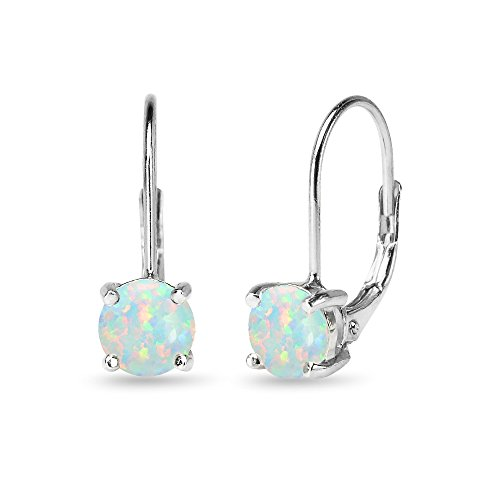 Sterling Silver 6mm Round-Cut Created Opal Leverback Earrings Created Opal Leverback Earrings