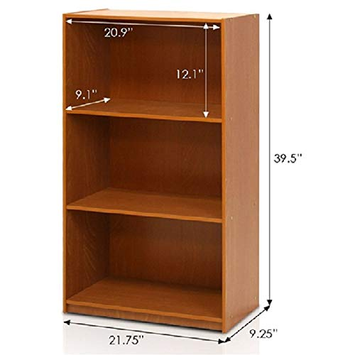 CHOOSEandBUY Modern 3-Shelf Bookcase in Light Cherry Wood Finish Bookcase Storage Shelf Bookshelf - Cherry Light Wood