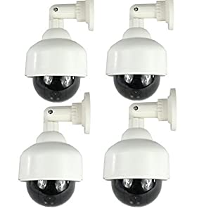 4 Pack of chorbros Outdoor Dome Fake Security Cameras with BLINKING LIGHT
