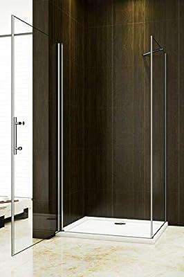Mampara de ducha con puerta giratoria y mampara combinada.: Amazon ...