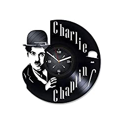 Charlie Chaplin Vinyl Record Wall Clock. Decor for Bedroom, Living Room, Kids Room. Gift for Him or Her. Christmas, Birthday, Holiday, Housewarming Present.