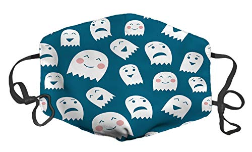 Funny Halloween Ghosts Custom Mouth Mask Anti-Dust Face Mask Adjustable Buckle Face Mask White