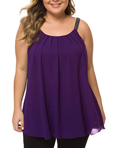 MANER Women's Plus Size Cami Casual Pleated Chiffon Tank Top with Beaded Strap (Purple, L/US ()